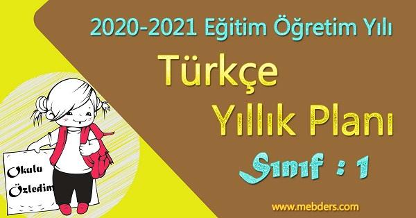2020 - 2021 Yılı 1.Sınıf Türkçe Yıllık Planı (MEB)