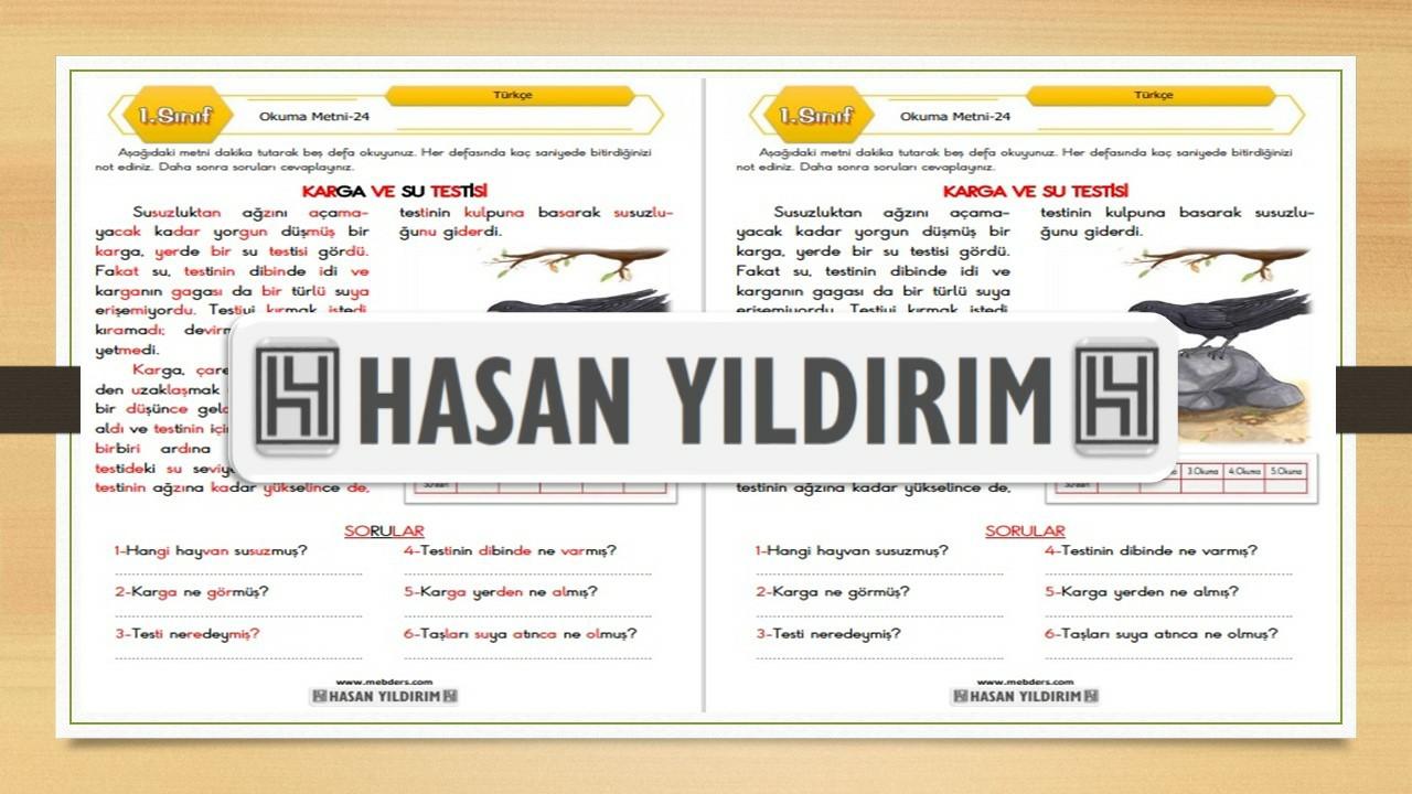 1.Sınıf Türkçe Okuma Metni-24 (Karga ve Su Testisi)