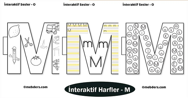 1.Sınıf İlkokuma İnteraktif Harfler - M Sesi
