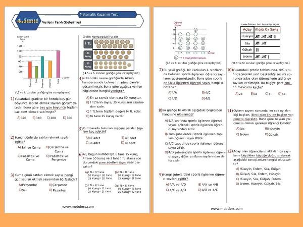 4. Sınıf Matematik Verilerin Farklı Gösterimi Kazanım Testi