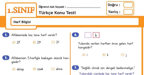 1.Sınıf Türkçe Harf Bilgisi Konu Tarama Testi