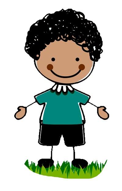 Clipart kıvırcık saçlı kollarını açmış erkek çocuk