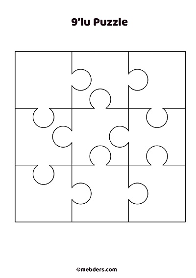 Dokuzlu puzzle şablon