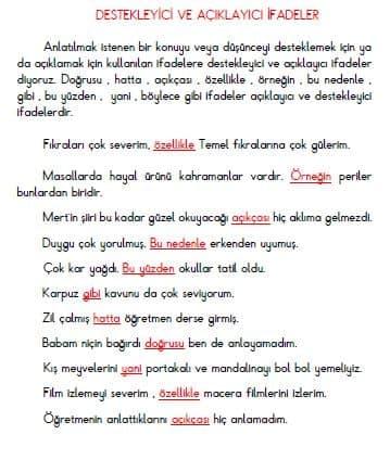 3. Sınıf Türkçe Destekleyici ve Açıklayıcı  İfadeler Konu Özeti
