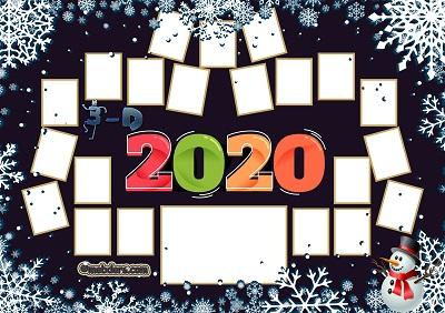 3D Sınıfı için 2020 Yeni Yıl Temalı Fotoğraflı Afiş (21 öğrencilik)