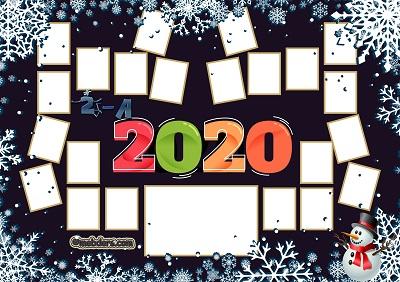 2A Sınıfı için 2020 Yeni Yıl Temalı Fotoğraflı Afiş (22 öğrencilik)