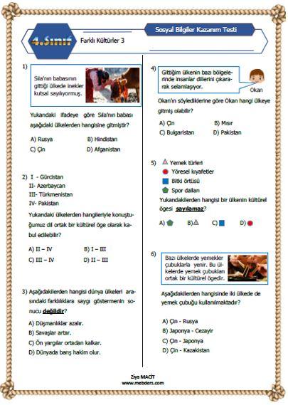 4. Sınıf Sosyal Bilgiler Farklı Kültürler Kazanım Testi 3 ETKİLEŞİMLİ