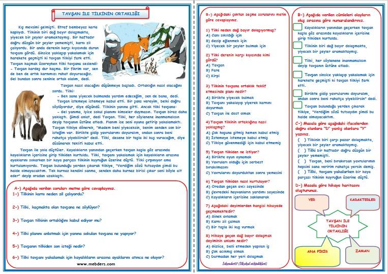 3.Sınıf Türkçe Tavşan ile Tilkinin Ortaklığı Okuma Anlama Metin Çalışması  6
