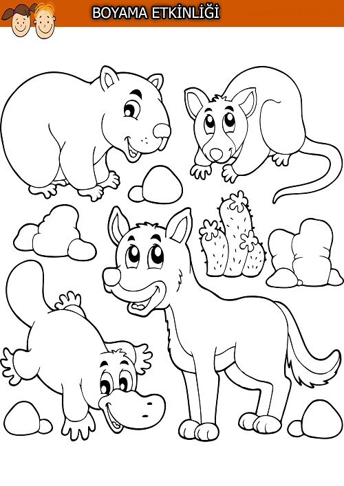 Karışık hayvanlarla boyama etkinliği