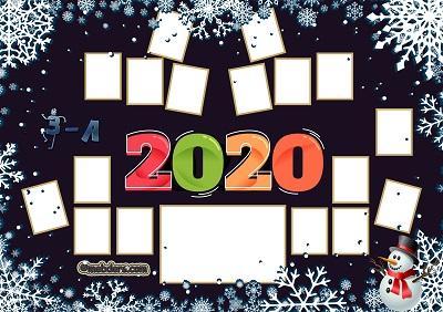 3A Sınıfı için 2020 Yeni Yıl Temalı Fotoğraflı Afiş (17 öğrencilik)