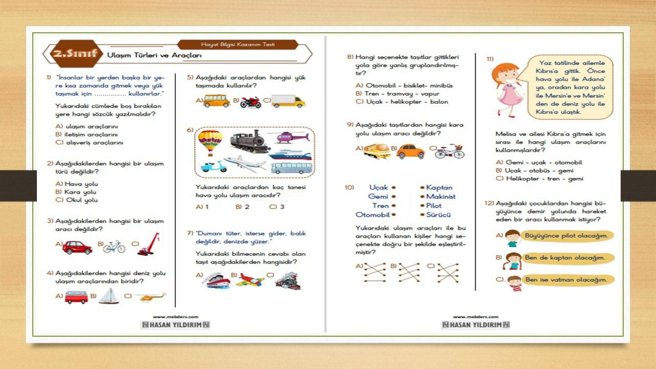 2.Sınıf Hayat Bilgisi Ulaşım Türleri ve Araçları Testi