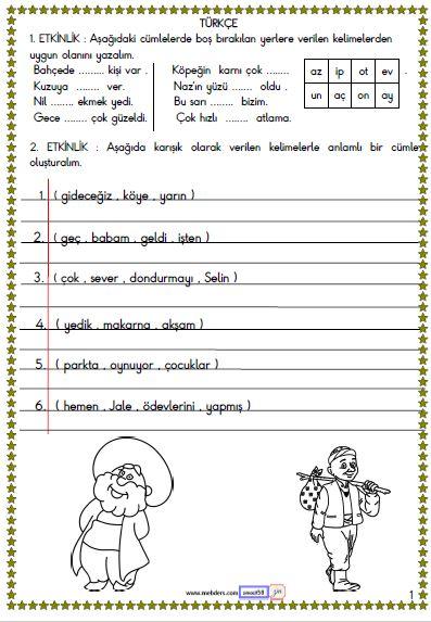1. Sınıf Türkçe Okuma ve Anlama Etkinliği 1