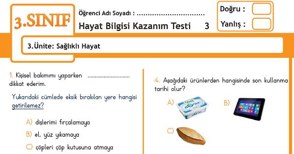 3.Sınıf Hayat Bilgisi Kazanım Testi - 3.Ünite - Sağlıklı Hayat