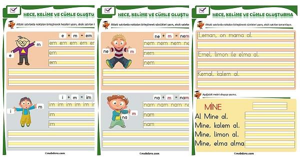 1.Sınıf İlk Okuma M Sesi Birleştirme Etkinliği