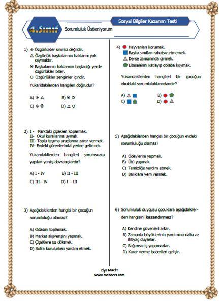 4. Sınıf Sosyal Bilgiler Sorumluluk Üstleniyorum Kazanım Testi