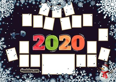 4D Sınıfı için 2020 Yeni Yıl Temalı Fotoğraflı Afiş (18 öğrencilik)