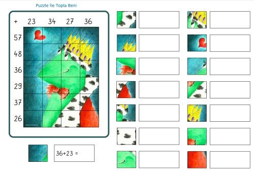 İki basamaklı puzzle ile topla beni etkinliği