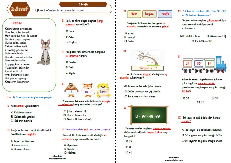 2.Sınıf Haftalık Değerlendirme Testi-6.Hafta (11-15 Ekim)