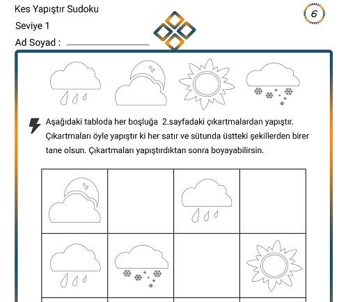 Kes Yapıştır Sudoku Etkinliği 6 (Seviye 1)