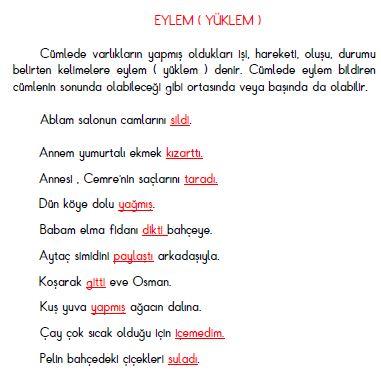 3. Sınıf Türkçe Eylem ( Yüklem ) Konu Anlatımı