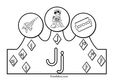1.Sınıf İlkokuma Harfli Taçlar - J Sesi