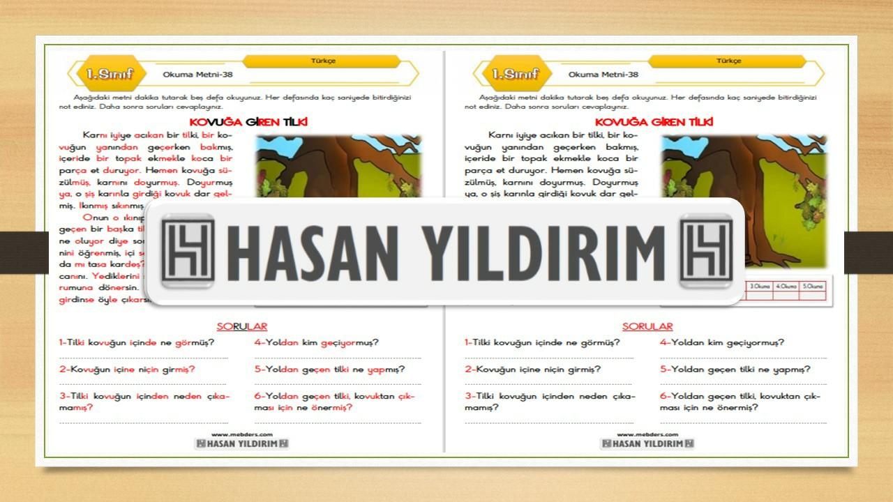 1.Sınıf Türkçe Okuma Metni-38 (Kovuğa Giren Tilki)