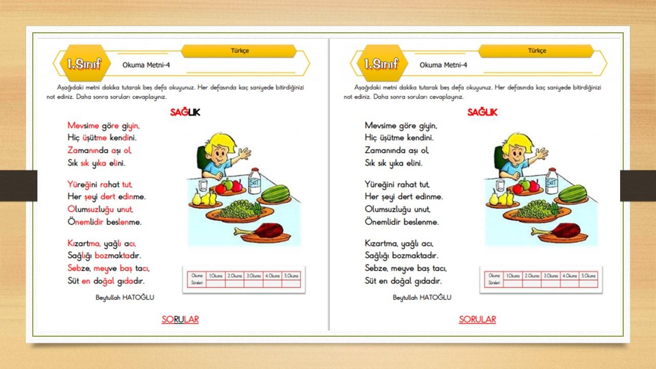 1.Sınıf Okuma Metni-4 (Sağlık)