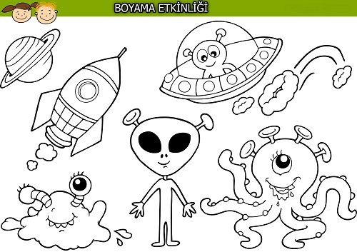 Sevimli uzaylılar boyama etkinliği