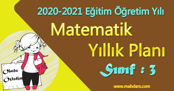 2020 - 2021 Yılı 3.Sınıf Matematik Yıllık Planı (MEB)