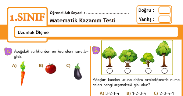 1.Sınıf Matematik Uzunluk Ölçme Kazanım Testi