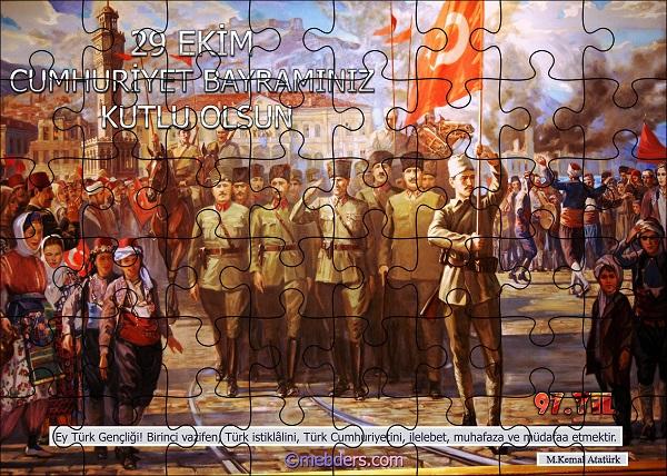 Cumhuriyet Panosu Puzzle Poster - 97.Yıl (48 Parça)