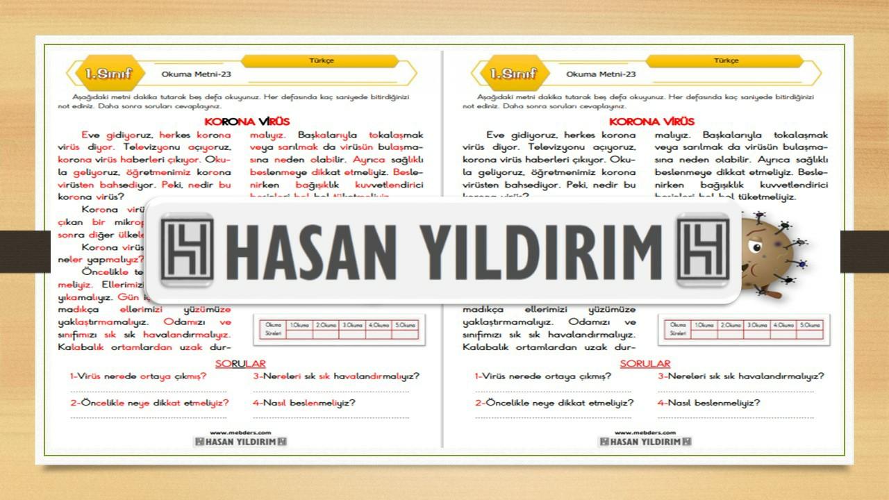 1.Sınıf Türkçe Okuma Metni-23 (Korona Virüs)
