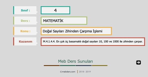 4.Sınıf Matematik Doğal Sayıları Zihinden Çarpma İşlemi Sunusu
