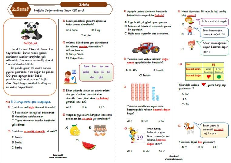 2.Sınıf Haftalık Değerlendirme Testi-3.Hafta(20-24 Eylül)