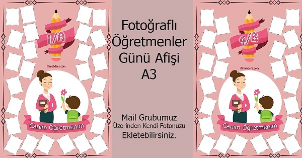3G Sınıfı için Öğretmenler Günü Hatırası Afişi (17 öğrencilik)