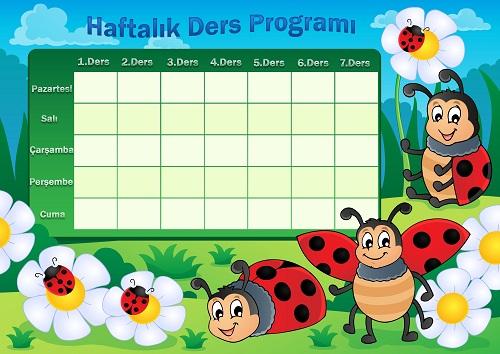 Uğurböcekli haftalık ders programı şablonu