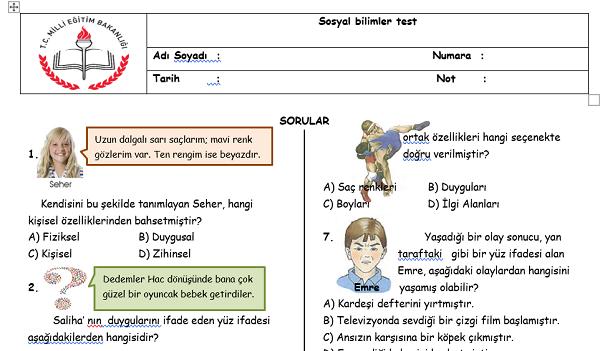 4.Sınıf Sosyal Bilgiler test