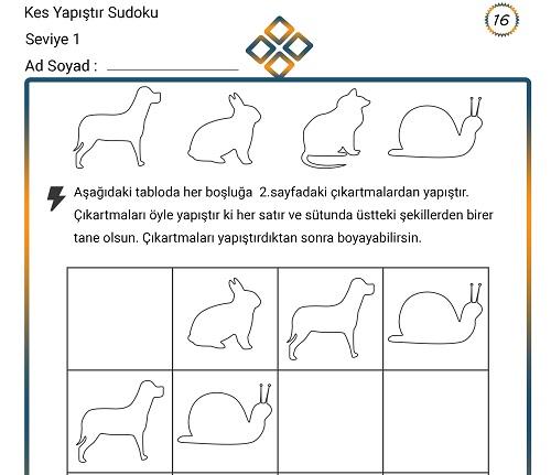 Kes Yapıştır Sudoku Etkinliği 16 (Seviye 1)