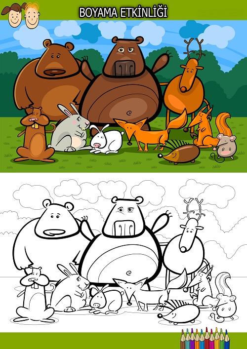 Sevimli ayılar boyama etkinliği