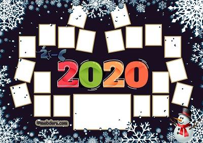 2C Sınıfı için 2020 Yeni Yıl Temalı Fotoğraflı Afiş (20 öğrencilik)