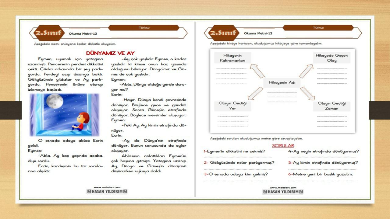2.Sınıf Türkçe Okuma Metni-13 (Dünyamız ve Ay)