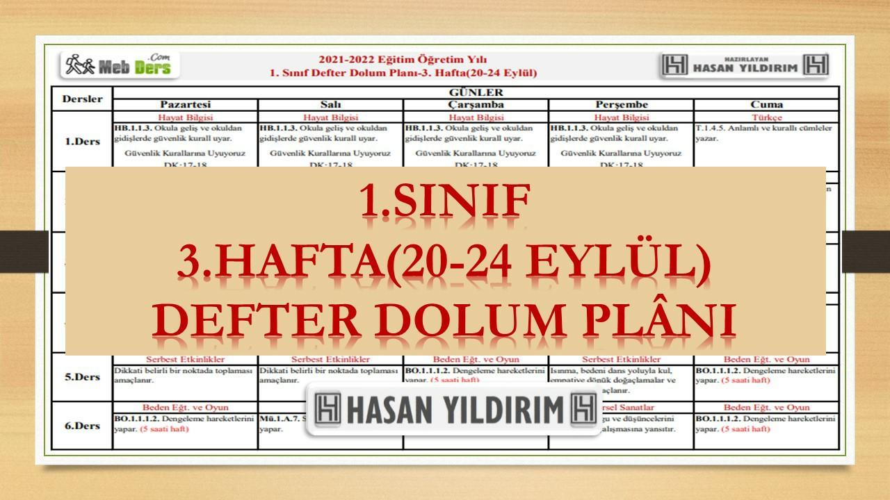 1.Sınıf 3.Hafta(20-24 Eylül) Defter Dolum Planı