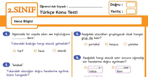 2.Sınıf Türkçe Hece Bilgisi Konu Tarama Testi
