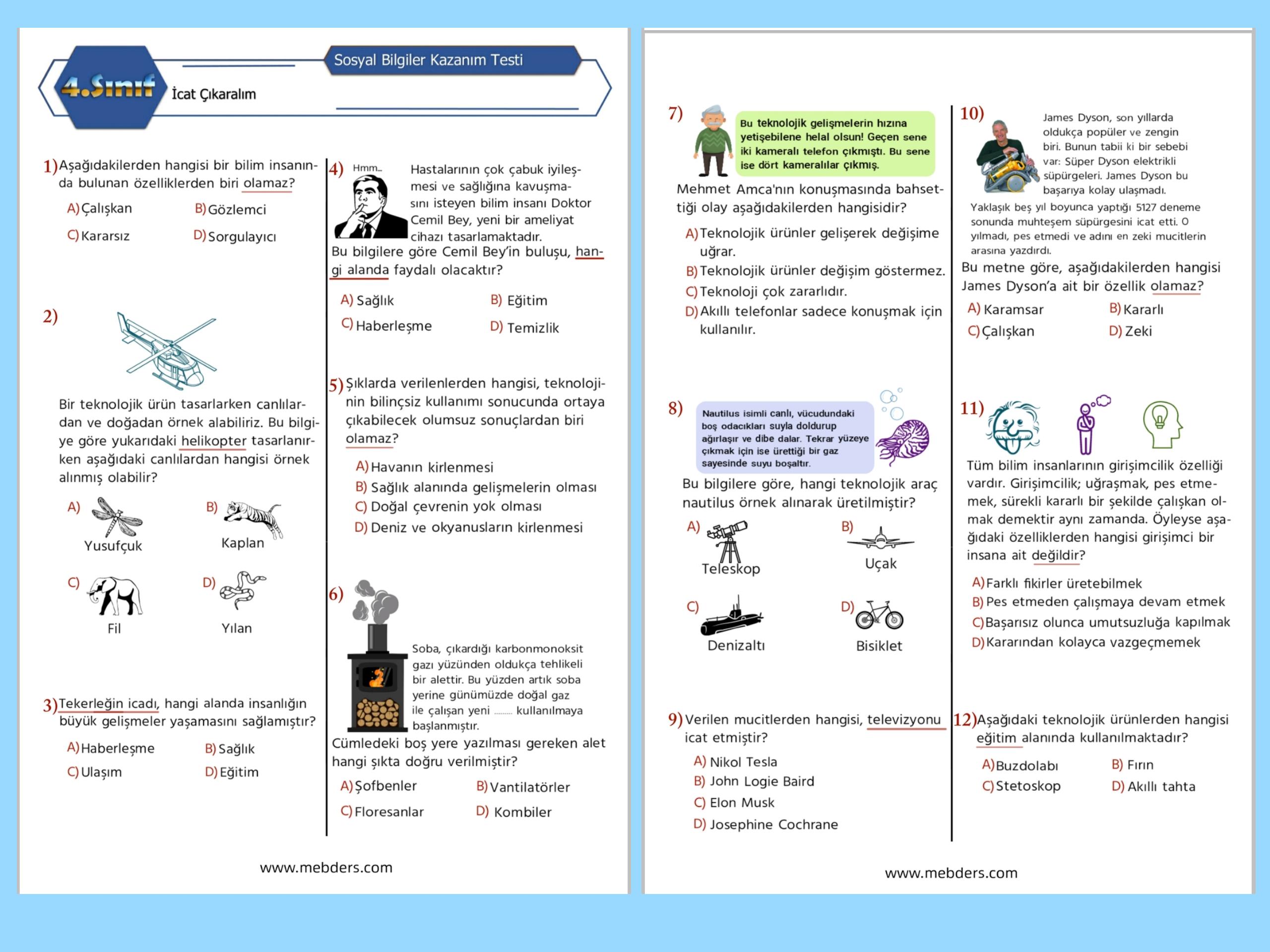 4. Sınıf Sosyal Bilgiler İcat Çıkaralım Kazanım Testi