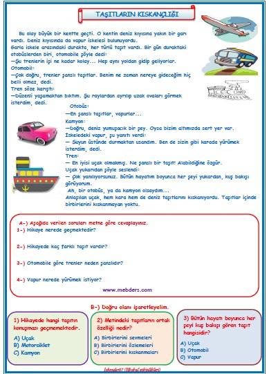 2.Sınıf Türkçe Taşıtların Kıskançlığı Okuma Anlama Metin Çalışması  8