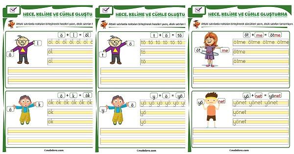 1.Sınıf İlk Okuma Ö Sesi Birleştirme Etkinliği