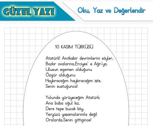 Şiir oku yaz değerlendir etkinliği - 10 Kasım Türküsü