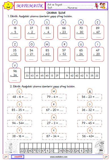 2. Sınıf Matematik Onluk Bozmadan Çıkarma İşlemi Etkinliği 2