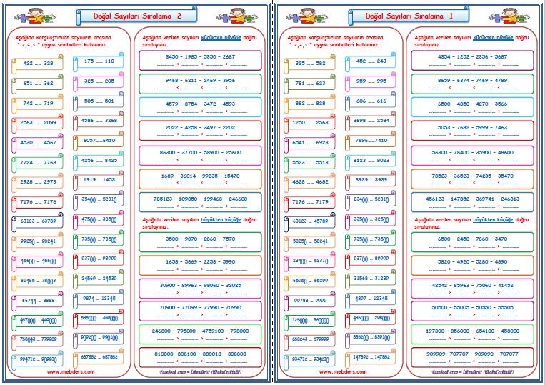4.Sınıf Matematik Doğal Sayıları Sıralama