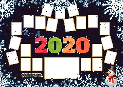 2A Sınıfı için 2020 Yeni Yıl Temalı Fotoğraflı Afiş (21 öğrencilik)